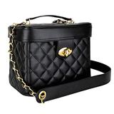 Ver Beauty Quilted Trunk Bag Organizer with Brush Holder and Gold Chain Shoulder Strap, Black