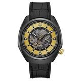 Bulova Grammy Automatic Mens Stainless Steel with Black Leather & FKM Rubber Strap, Black (Model: 98A241)