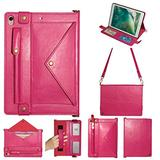 iPad Mini Case with Crossbody Strap, DMaos Premium Leather Shoulder Bag Style Wallet Cover for iPad Mini 1/2/3/4/5 7.9 Inch All Generation, Envelope Cash Pocket Pen Card Holder - Hot Pink