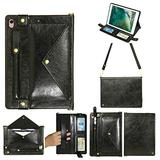 iPad Mini Case with Crossbody Strap, DMaos Premium Leather Shoulder Bag Style Wallet Cover for iPad Mini 1/2/3/4/5 7.9 Inch All Generation, Envelope Cash Pocket Pen Card Holder - Black