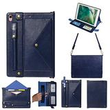 iPad Mini Case with Crossbody Strap, DMaos Premium Leather Shoulder Bag Style Wallet Cover for iPad Mini 1/2/3/4/5 7.9 Inch All Generation, Envelope Cash Pocket Pen Card Holder - Blue