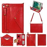 iPad Mini Case with Crossbody Strap, DMaos Premium Leather Shoulder Bag Style Wallet Cover for iPad Mini 1/2/3/4/5 7.9 Inch All Generation, Envelope Cash Pocket Pen Card Holder - Red