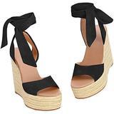 Fashare Womens Open Toe Tie Lace Up Espadrille Platform Wedges Sandals Ankle Strap Slingback Dress Shoes (6 B(M) US, black)
