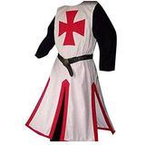 Taoliyuan Mens Crusader Costume Halloween Medieval Templar Renaissance Knight Warrior Tunic Retro Cosplay Cloak Robe, A-red, XX-Large