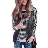 Angashion Women's Warm Sherpa Fleece Zip Up Reversible Vest Sleeveless Lightweight Jacket Outwear with Pockets Black L