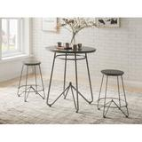 17 Stories Watson 3 Piece Counter Height Dining Set Wood/Metal in Brown/Gray, Size 36.0 H x 32.0 W x 36.0 D in   Wayfair