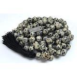 Certified Energized Mala Beads Necklace with COA - Chakra Mala - Japa Mala - 8mm 108 Buddhist Prayer Beads - Meditation Mala - Tassel Necklace – Zodiac/Sun Sign Stones (Dalmatian)
