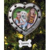 Personalized Planet Ornaments - Gray 'Friends Forever' Paw Frame Personalized Ornament