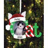 Personalized Planet Ornaments - Green & Red Cat Frame Personalized Ornament