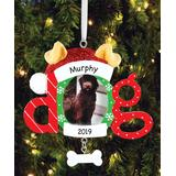 Personalized Planet Ornaments - Red & White Dog Frame Personalized Ornament