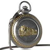 Engraved Pocket Watch, Pocket Watch Silver Running Steam Train Pocket Watch Thick Pendant Chain Quartz Watch for Men Christmas Gift