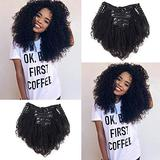 #1B Color Afro Kinky Curly Human Hair Clip in Extensions Virgin Mongolian Human Hair Clip in Hair Extensions for Black Women 7pcs/set 120gram/set (12inch))
