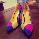 Nine West Shoes | *New* Suede Nine West Heels | Color: Blue/Pink | Size: 5