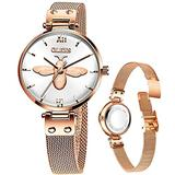 Thin Watch for Women Rose Gold Steel Mesh Small Wrist Ladies Watches Luxury Classic Fashion Bee Watch White Dial,reloj de Mujer,Casual Simple Watch Lady Woman Watches Waterproof Wrist Watch for Girls