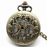 Engraved Pocket Watch, Retro Men's Watch DAD Pocket Watch Hollow Design with Pocket Watch Chain Christmas Gift for Father Days
