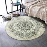 LEEVAN Round Wool Area Rug 4 ft Traditional Throw Round Rug Non-Slip Backing Soft Wool Floor Carpet for Sofa Living Room Bedroom Modern Accent Home Decor