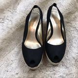 Jessica Simpson Shoes | Jessica Simpson Wedge Platform Shoes Size 8 | Color: Black/Tan | Size: 8