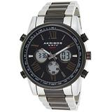 Akribos Multifunction High Tech Smartwatch - Analog-Digital Display Watch, Health Stats Tracking - 3 Digital Subdials on Stainless Steel Bracelet- AK1095 (Black Dial Two Tone Black and Silver Band)