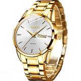 Mens Gold Watch Fashion Classic Stainless Steel Wrist Watch Mens Watches with Day and Date,OLEVS Luxury Dress Watches for Male Simple Casual Analog Quartz Wristwatch Men Classic Watch with White Dial