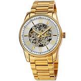 Akribos XXIV Skeleton Men's Watch – Automatic Mechanical Wristwatch See Through Dial On Stainless Steel Mesh Bracelet - AK1103 (Silver Dial Gold Bracelet)