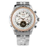 Unique Tourbillon Automatic-self-Winding Mechanical Watch for Boy, Classic White Dial Stainless Steel Skeleton Mechanical Watches for Men, Practical Calendar Mechanical Wristwatch for Male