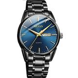OLEVS Watches Mens Blue Dial Stainless Steel Watches for Men,Day Date Watch Men Business Casual Quartz Minimalist Watch Waterproof Dress Wrist Watch for Men,Luxury Wristwatch Men's, relojes de Hombre