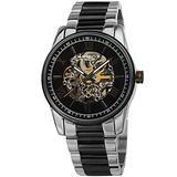 Akribos XXIV Skeleton Men's Watch – Automatic Mechanical Wristwatch See Through Dial On Stainless Steel Mesh Bracelet - AK1103 (Black Dial Two Silver and Black Bracelet)