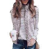 Angashion Women's Warm Sherpa Fleece Zip Up Reversible Vest Sleeveless Lightweight Jacket Outwear with Pockets Khaki XL