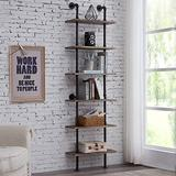 Hombazaar Industrial 6-Tier Modern Ladder Shelf Bookcase, Vintage Metal Pipes and Wood Shelves, Rustic Display Bookshelf for Storage Collection,Retro Brown