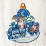 The Holiday Aisle® Decorative Christmas Train Scenic Wood OrnamentWood/Resin/Plastic/Resin in Blue/Brown, Size 15.0 H x 12.0 W x 0.5 D in | Wayfair