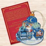 The Holiday Aisle® Decorative Christmas Train Scenic Wood OrnamentWood/Resin/Plastic/Resin in Blue/Brown, Size 5.5 H x 3.5 W x 0.5 D in | Wayfair