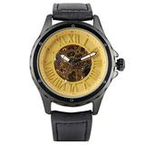 Mechanical Watches Men Analogue Watch Stainless Steel Leather Strap Roman Digital Display Self Winding Mechanical Gold Watch Skeleton Gift for Men