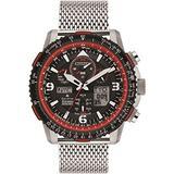Citizen Promaster Skyhawk A-T JY8079-76E Mens Silver Stainless Steel Bracelet Band Black Dial Watch