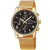 Akribos XXIV Men's Chronograph Watch - 3 Subdials with Moonphase AM/PM Indicator On Stainless Steel Mesh Bracelet - AK1112 (Black Dial Yellow Gold Band)