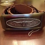 Nine West Accessories   Nine West Brown Leather Studded Belt   Color: Brown/Silver   Size: Small