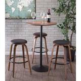 Pebble Mid-Century Modern Adjustable Bar/Counter Table in Walnut & Black - Lumisource CT-PEB BK+WL