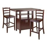 Winsome Albany 3-Piece High Table with Ladder Back Counter Stools Set, Brown
