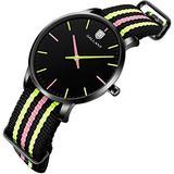 Women's Watch, Analog Quartz Watches with Nylon Strap Nylon Band Ladies Wristwatch Womens Wrist Watch Relogio Feminino Waterproof Watches for Student Casual