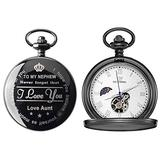 Mens Engraved Gifts for Valentine's Day, Anniversary Birthday Graduation Christmas Personalized Mechanical Pocket Watch with Gift Box (Love Aunt Mechanical Watch)