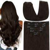 Hetto Brown Hair Extensions Clip in Human Hair Extensions 7pcs 100g Real Human Hair Clip in Extensions Straight Thick Clip in 18 Inch Remy Hair Extensions