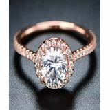 Barzel Women's Rings Gold/White - 18k Rose Gold-Plated Round Cut Ring With Swarovski Crystals