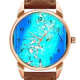 Mens Watches Fashion Luxury Quartz Watch Business Waterproof Luminous Watch Men Brown Leather Watch Christmas Paul Klee Art Fruits on Red Wristwatch