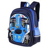 "Lemcool Waterproof Kid Backpack Children Backpack 3D Cartoon Car 16.5"" Child School Bookbag (Blue), Medium"