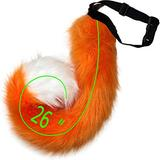 HAOAN Adults 26 Inch Wolf Tail Soft Long Fur Cat Fox Costume Tail for Halloween Fancy Party Costume Orange