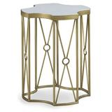 Fairfield Chair East Camden Marble Top Frame End Table in Brown/White/Yellow, Size 22.0 H x 17.0 W x 17.0 D in | Wayfair 8098-AT