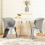 South Shore Sweedi 3 Piece Play Table & Chair SetWood in Brown/Gray/White, Size 20.38 H x 23.58 W x 23.58 D in | Wayfair 100396