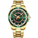 Luxury Men's Quartz Watch Fashion Sport Luminous Calendar Stainless Steel Waterproof Big Dial Watches (Gold Green)