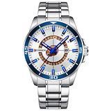 Luxury Men's Quartz Watch Fashion Sport Luminous Calendar Stainless Steel Waterproof Big Dial Watches (Silver White)