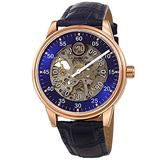 Akribos Automatic Mechanical Men's Watch - Unique Time Reading Hour Window & Long Minute Hand On Skeletonized Dial with Genuine Embossed Crocodile Pattern Leather - AK1111 (Blue Dial Blue Strap)