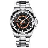 Luxury Men's Quartz Watch Fashion Sport Luminous Calendar Stainless Steel Waterproof Big Dial Watches (Silver Black)